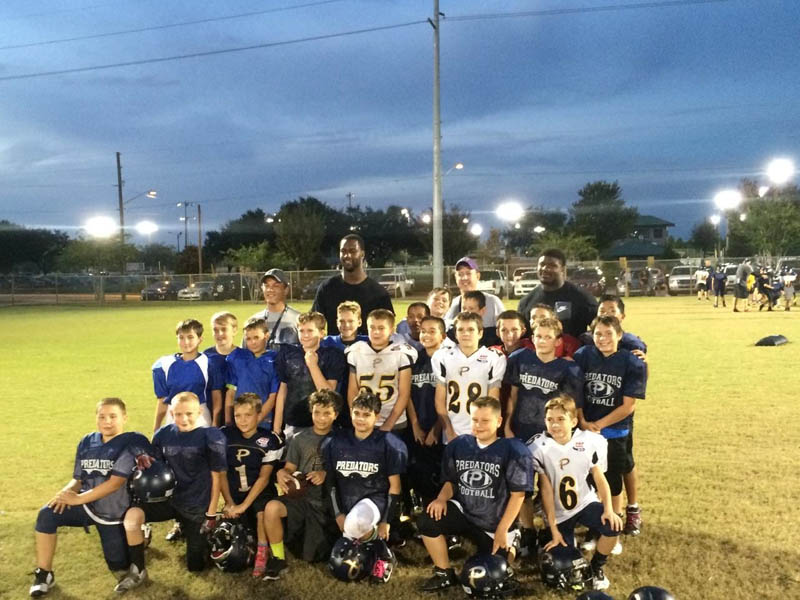 Helping Out at Pop Warner Practice in Tampa